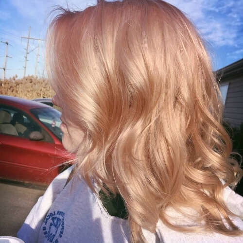 71 Alluring Rose Gold Hair Color Ideas To Try In 2018 Throughout Golden Bronze Blonde Hairstyles (Gallery 22 of 25)