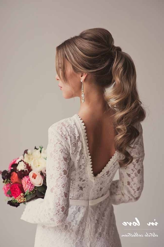 72 Best Wedding Hairstyles For Long Hair 2018 | Stylish, Cute With Classy Flower Studded Pony Hairstyles (View 16 of 25)