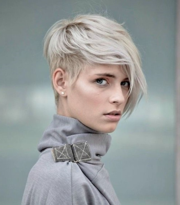 78 Grey Hairstyles To Try For A Hot New Look With Regard To Most Recently Ash Blonde Pixie Hairstyles With Nape Undercut (Gallery 23 of 25)