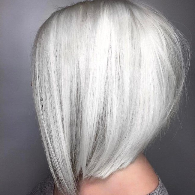 8 Angled Bob | Winter White & Autumn Copper Hair | Pinterest | Bobs With Long Blonde Bob Hairstyles In Silver White (View 18 of 25)