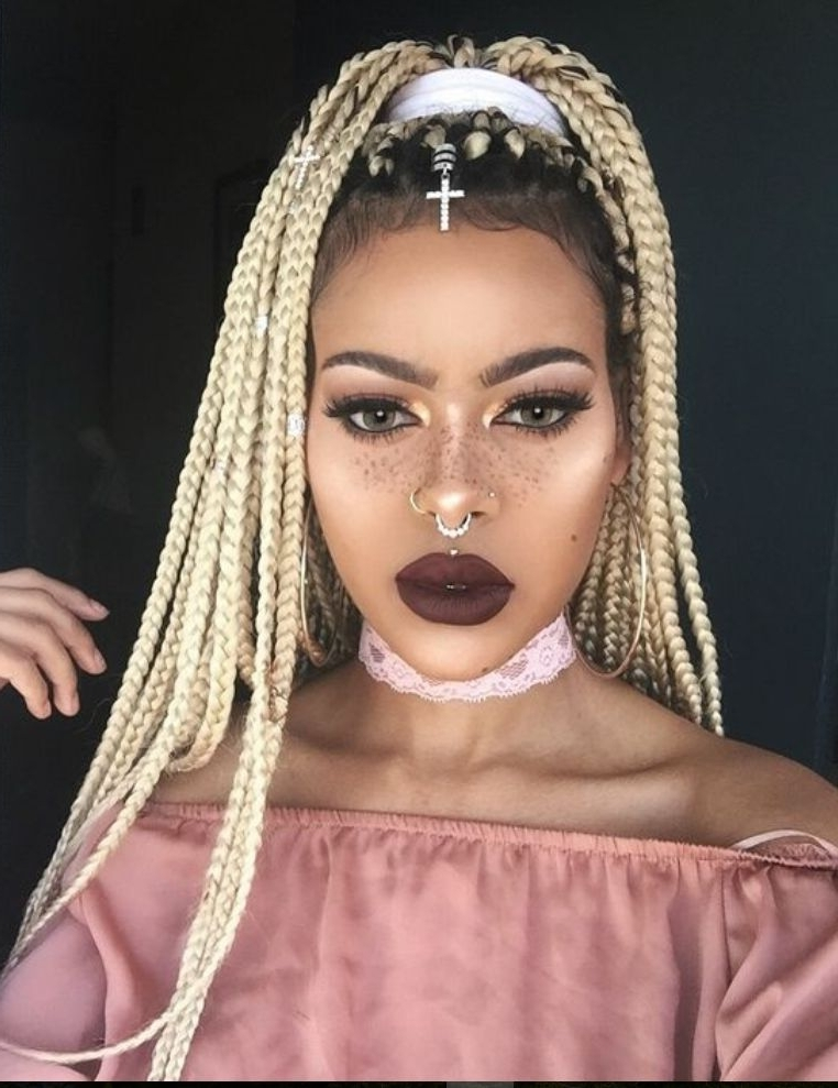 8 Box Braids Blonde On Black Hair For You | New Natural Hairstyles For Box Braids Pony Hairstyles (View 25 of 25)