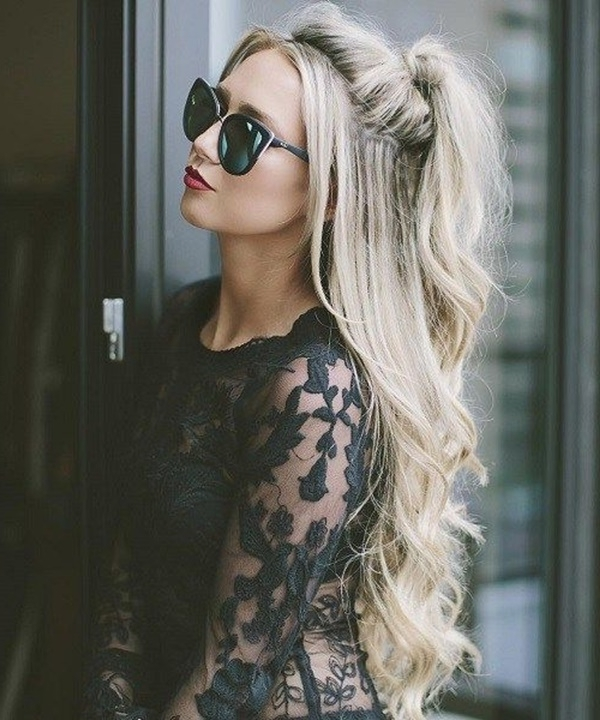 80 Lovely Women Ponytail Hairstyles For Long Hair With Curled Up Messy Ponytail Hairstyles (View 24 of 25)