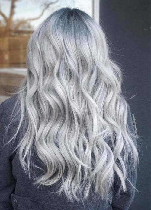 85 Silver Hair Color Ideas And Tips For Dyeing, Maintaining Your For Icy Highlights And Loose Curls Blonde Hairstyles (View 16 of 25)