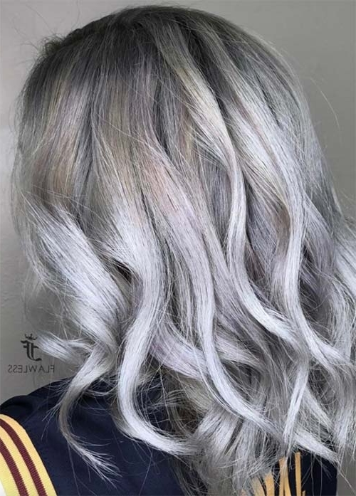 85 Silver Hair Color Ideas And Tips For Dyeing, Maintaining Your Within Dark Roots And Icy Cool Ends Blonde Hairstyles (View 24 of 25)