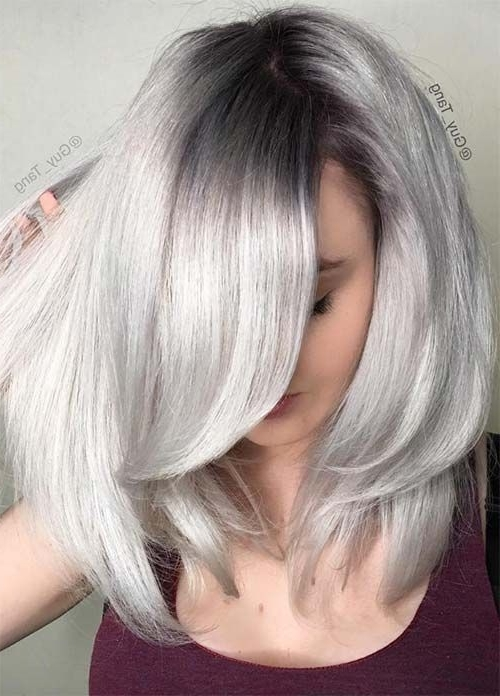 85 Silver Hair Color Ideas And Tips For Dyeing, Maintaining Your Within Sleek Blonde Hairstyles With Grown Out Roots (View 23 of 25)