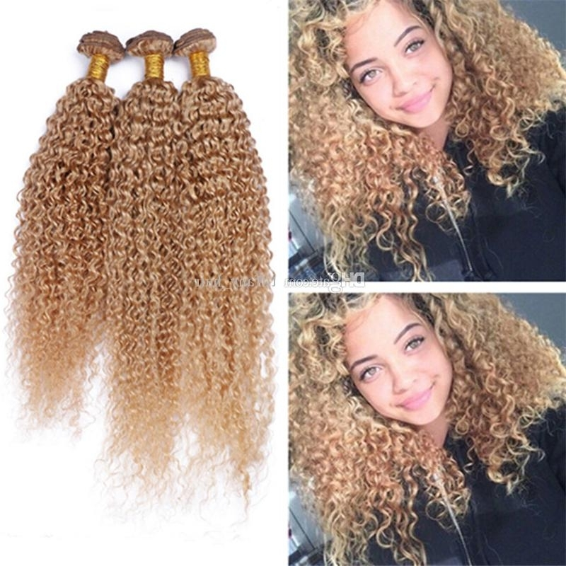 8A Brazilian Blonde Curly Hair Extensions #27 Honey Blonde Human Inside Curly Blonde Ponytail Hairstyles With Weave (View 14 of 25)