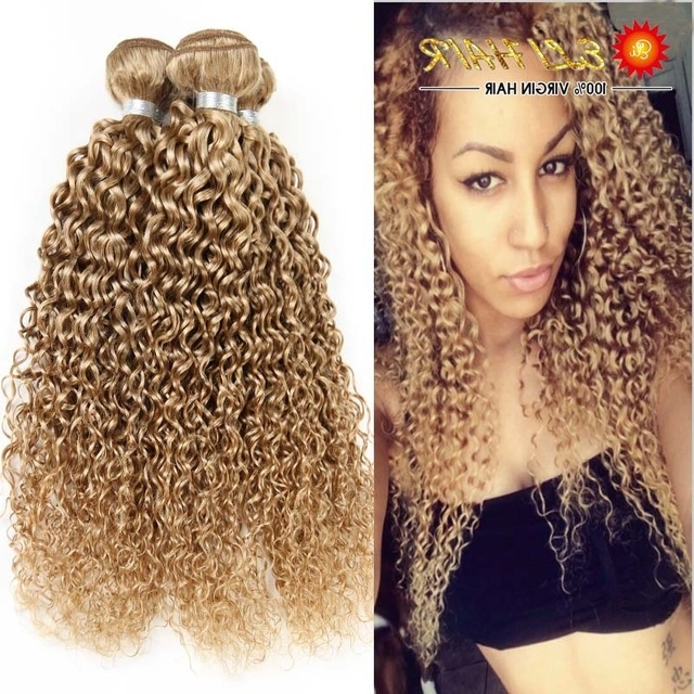 8A Brazilian Blonde Curly Hair Extensions Honey Blonde Remy Human Within Curly Blonde Ponytail Hairstyles With Weave (View 9 of 25)
