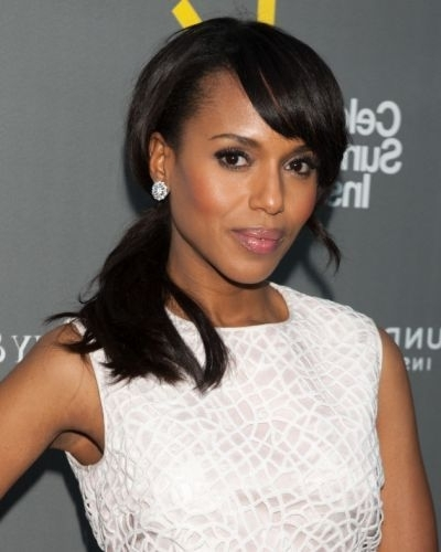 9 Perfect Kerry Washington Ponytail Hairstyles (High & Low Ponytails) Intended For High Ponytail Hairstyles With Side Bangs (View 18 of 25)