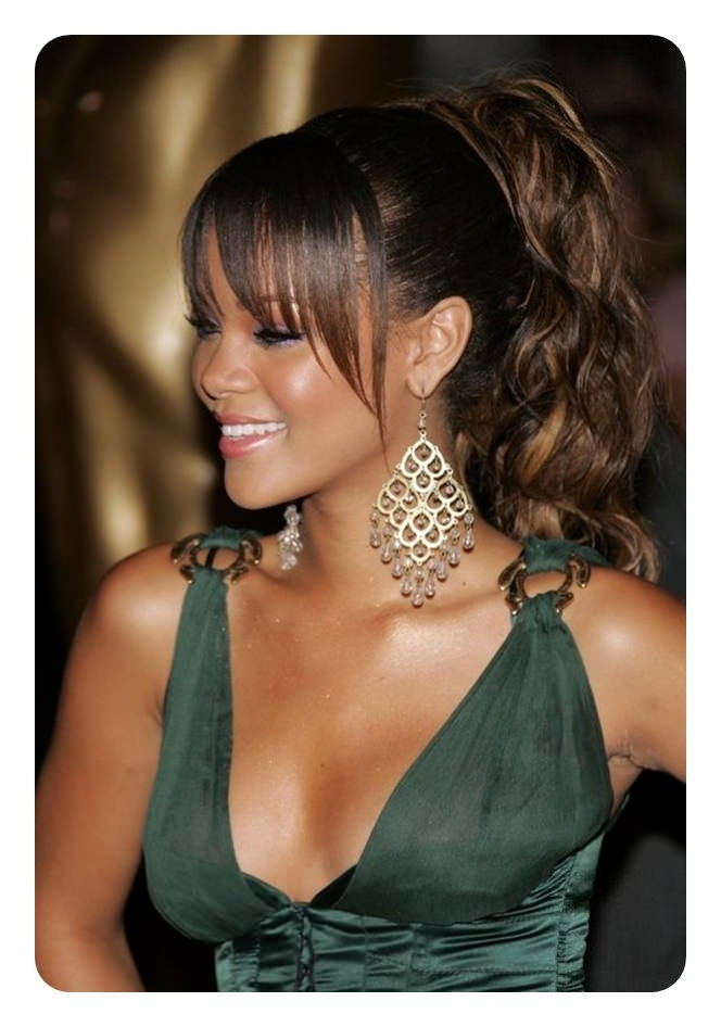97 Amazing Ponytail With Bangs Hairstyles Within Pony Hairstyles With Curled Bangs And Cornrows (View 5 of 25)