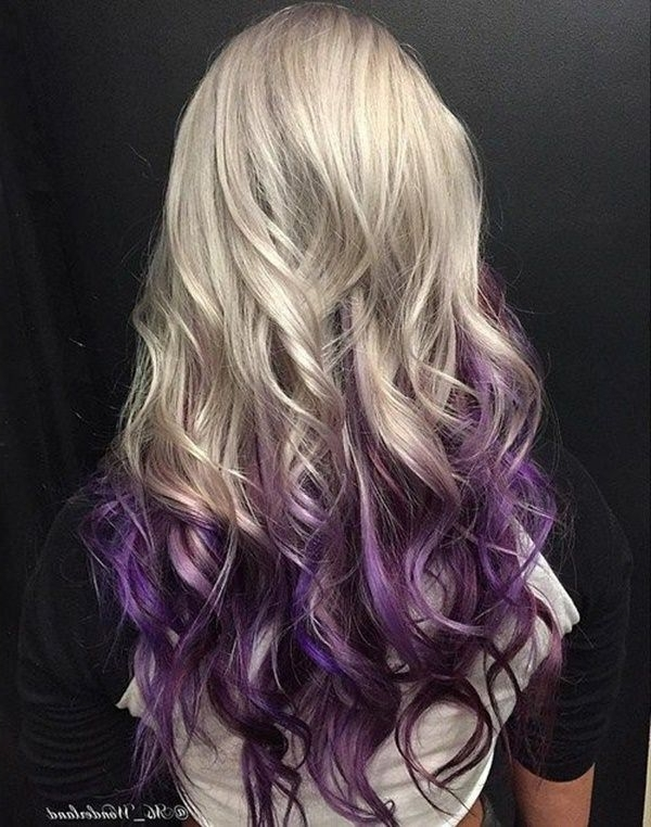 98 Extraordinary Reverse Ombre To Try Pertaining To Voluminous Platinum And Purple Curls Blonde Hairstyles (View 10 of 25)