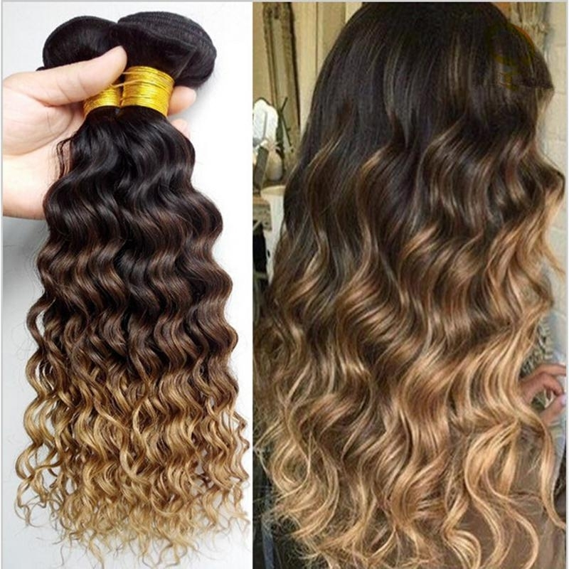 9A Brown Blonde Ombre Wavy Hair Bundles Three Tone 1B/4/27 Honey With Regard To Blonde Ombre Waves Hairstyles (View 14 of 25)