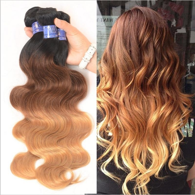 9A Brown Blonde Ombre Wavy Hair Bundles Three Tone Color 1B/4/27 Inside Blonde Ombre Waves Hairstyles (View 15 of 25)