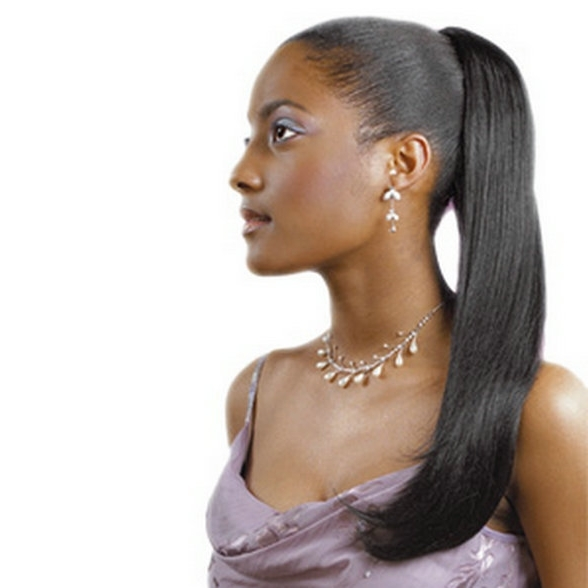 African American Clip In Jet Black Coarse Yaki Virgin Brazilian Hair Inside Jet Black Pony Hairstyles With Volume (View 9 of 25)