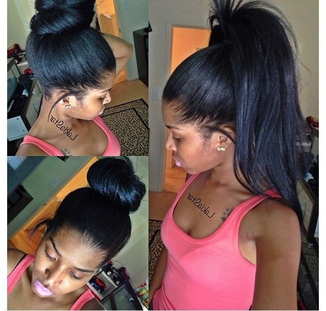 African American Long High Yaki Straight Virgin Brazilian Hair In High Top Ponytail Hairstyles With Wavy Extensions (Gallery 14 of 25)