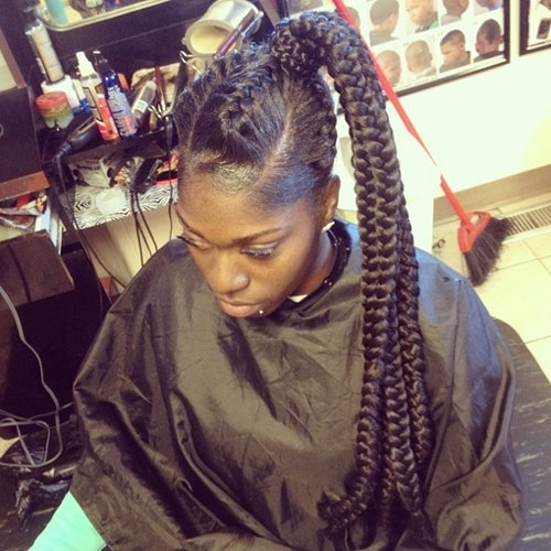 African American Ponytail Hairstyles | African American Hairstyles Regarding Three Braids To One Ponytail Hairstyles (View 10 of 25)