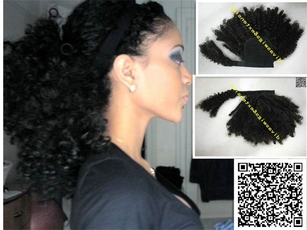 African Clip In Jet Black Afro Puff Kinky Curly Celebrity Clip In In Jet Black Pony Hairstyles With Volume (Gallery 17 of 25)