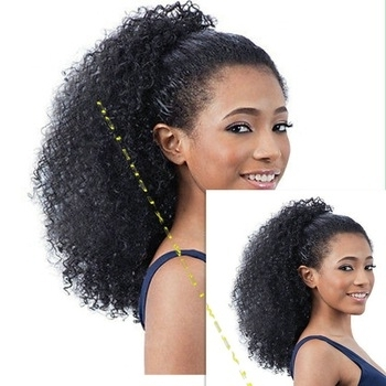 African High Quality Afro Puff Kinky Curly Hairpiece Human Hair Intended For Curly Blonde Afro Puff Ponytail Hairstyles (Gallery 11 of 25)