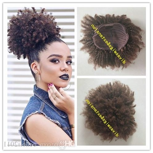 Afro Kinky Curly Weave Ponytail Hairstyles Clip Ins Brown Human Hair With Regard To Curly Blonde Ponytail Hairstyles With Weave (View 4 of 25)