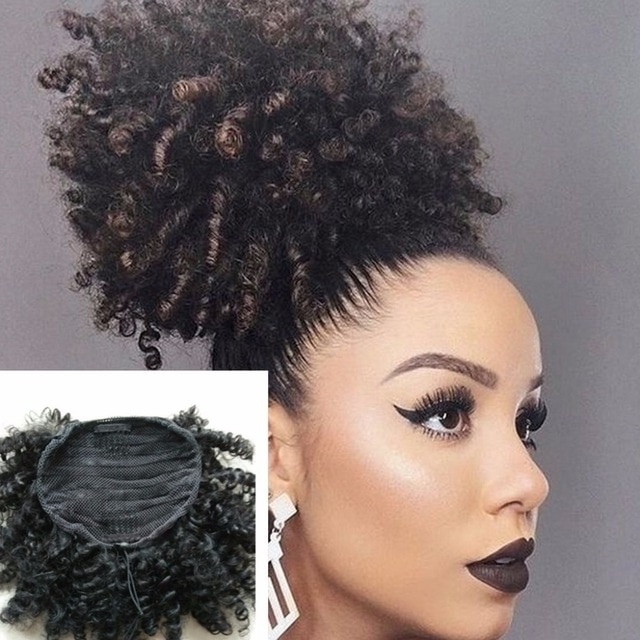 Afro Kinky Curly Weave Ponytail Hairstyles Clip Ins Natural Inside Natural Curly Pony Hairstyles With Bangs (Gallery 9 of 25)