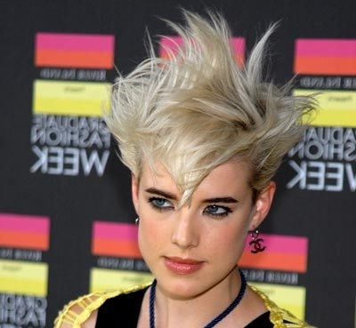 Agyness Deyn Blonde Spiky Hairstyle – Party, Summer – Careforhair.co.uk In Most Recent Spiked Blonde Mohawk Hairstyles (Gallery 24 of 25)