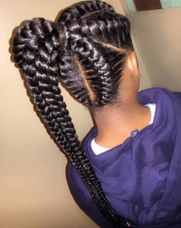 Amazing Braided Hairstyles For Black Women With Ponytail Modern Of Pertaining To Mohawk Braid Into Pony Hairstyles (View 21 of 25)