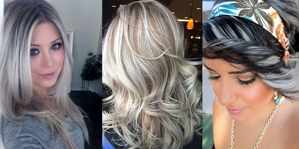 Amazing Silver Highlights! – The Haircut Web Throughout Dark Brown Hair Hairstyles With Silver Blonde Highlights (View 17 of 25)