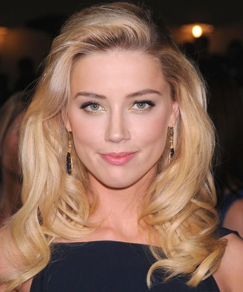 Amber Heard Blonde Bouncy Waves – Party, Formal, Evening For Amber Waves Blonde Hairstyles (Gallery 6 of 25)