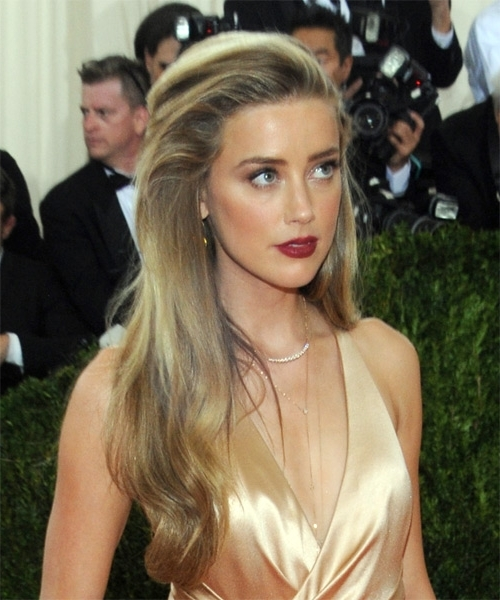 Amber Heard Long Straight Formal Hairstyle – Dark Golden Blonde Hair For Amber And Gold Blonde Hairstyles (View 10 of 25)