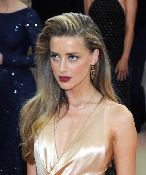 Amber Heard Long Straight Formal Hairstyle – Dark Golden Blonde Hair Pertaining To Amber And Gold Blonde Hairstyles (View 11 of 25)