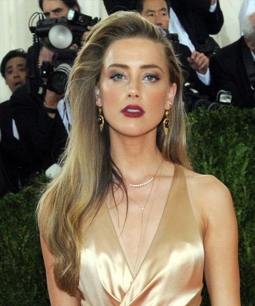Amber Heard Long Straight Formal Hairstyle – Dark Golden Blonde Hair Throughout Amber And Gold Blonde Hairstyles (View 12 of 25)