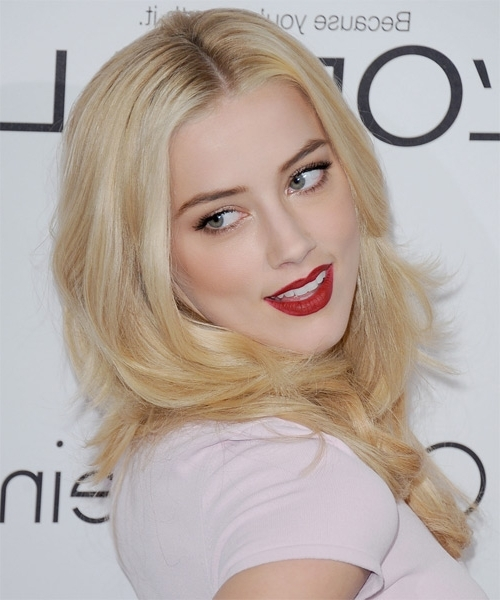 Amber Heard Long Straight Formal Hairstyle – Light Golden Blonde Inside Amber And Gold Blonde Hairstyles (View 13 of 25)