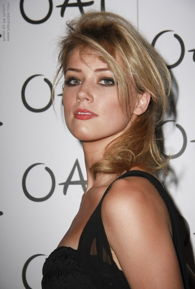 Amber Heard   Loose And Messy Ponytail Hairstyle And How To Create It Intended For Loose Messy Ponytail Hairstyles For Dyed Hair (View 20 of 25)