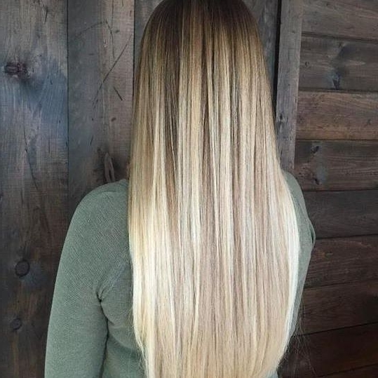 Amber Waves Of Grain Straight Blonde Balayage Ombre #regram Via For Amber Waves Blonde Hairstyles (Gallery 14 of 25)