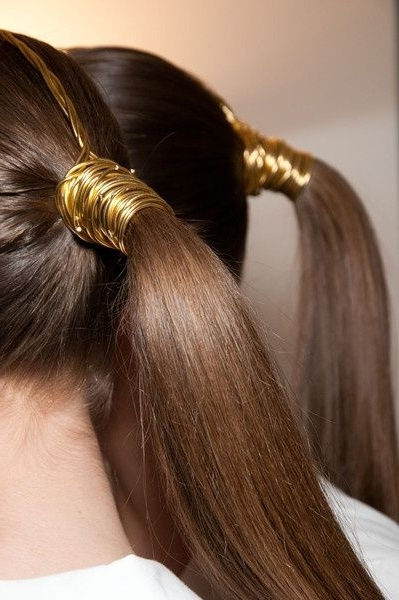 An Icon, The Ponytail In 2018 | Princess | Pinterest | Gold Wire In High Ponytail Hairstyles With Long Golden Coils (Gallery 4 of 25)