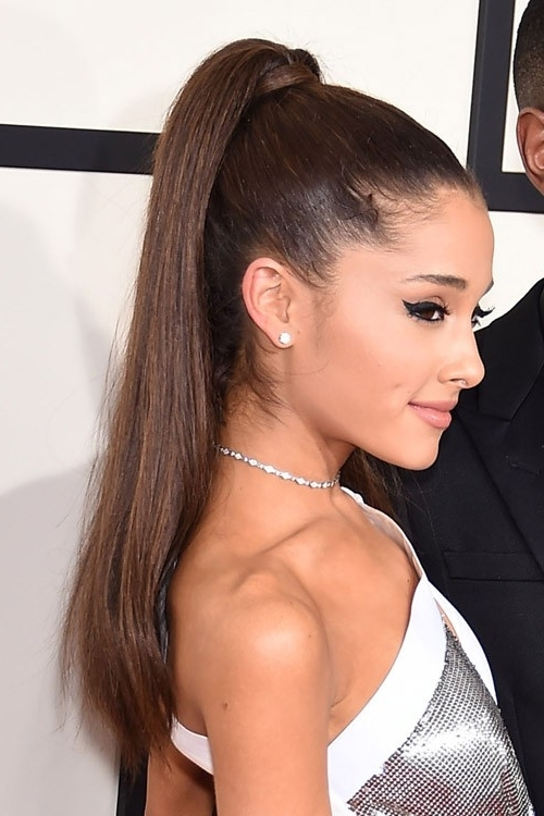 Ariana Grande Straight Dark Brown High Ponytail, Ponytail Hairstyle Regarding Long Brown Hairstyles With High Ponytail (View 14 of 25)