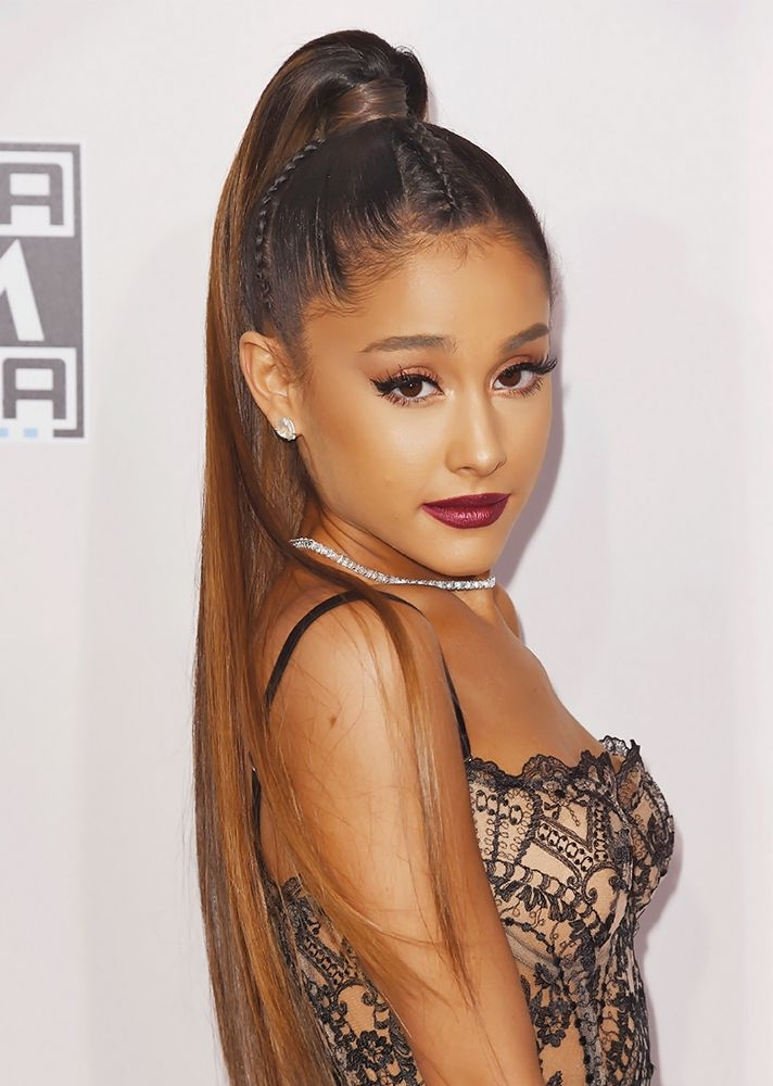 Ariana Grande Wore A Cornrowed Ponytail To The 2016 Amas | Hair In Grande Ponytail Hairstyles (View 11 of 25)