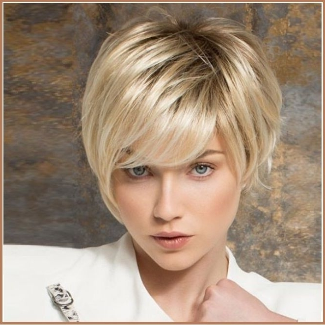 Ash Blonde Short Straight Hair With Long Bangs Pixie Style Cut Full In Current Ash Blonde Pixie Hairstyles With Nape Undercut (View 3 of 25)