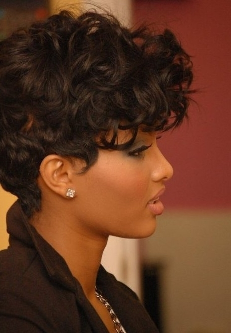 Asymmetrical Haircut With Natural Curls: Pixie Hairstyles – Popular For Best And Newest Long Curly Pixie Hairstyles (Gallery 5 of 25)