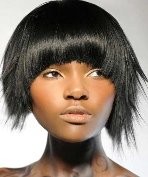 Asymmetrical Short Choppy Bob Hairstyle With Full Bangs – Casual Intended For Most Current Choppy Asymmetrical Black Pixie Hairstyles (View 17 of 25)