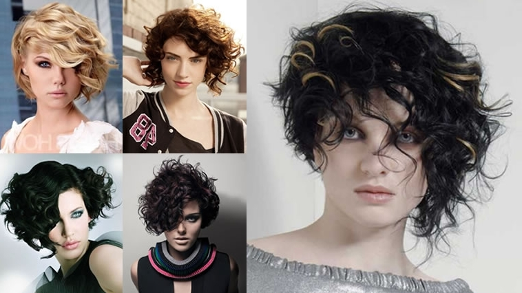 Asymmetrical Short Curly Hair Styles 2018 2019 & Short Bob Haircuts Inside Asymmetrical Curly Ponytail Hairstyles (View 12 of 25)