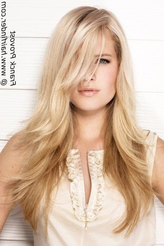 Baby Blonde Sun Kissed Effect Bottom Section Is Enhanced With A With Sun Kissed Blonde Hairstyles With Sweeping Layers (View 6 of 25)