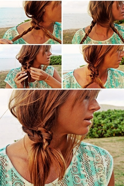 Beach Hairstyle Ideas: Knotted Braid Side Ponytail Hairstyle Within Braided And Knotted Ponytail Hairstyles (View 19 of 25)