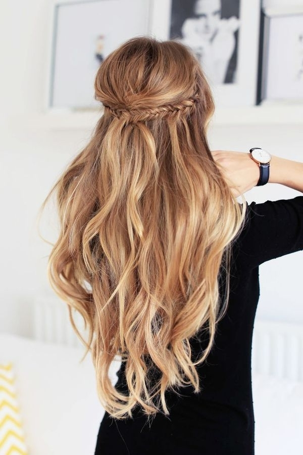 Beach Waves With A Little Braid Detail   Hair In 2018   Pinterest Within Beachy Half Ponytail Hairstyles (View 3 of 25)