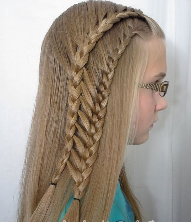 Beautiful Feather, Ladder, Loop, Braid Hairstyles (View 17 of 25)