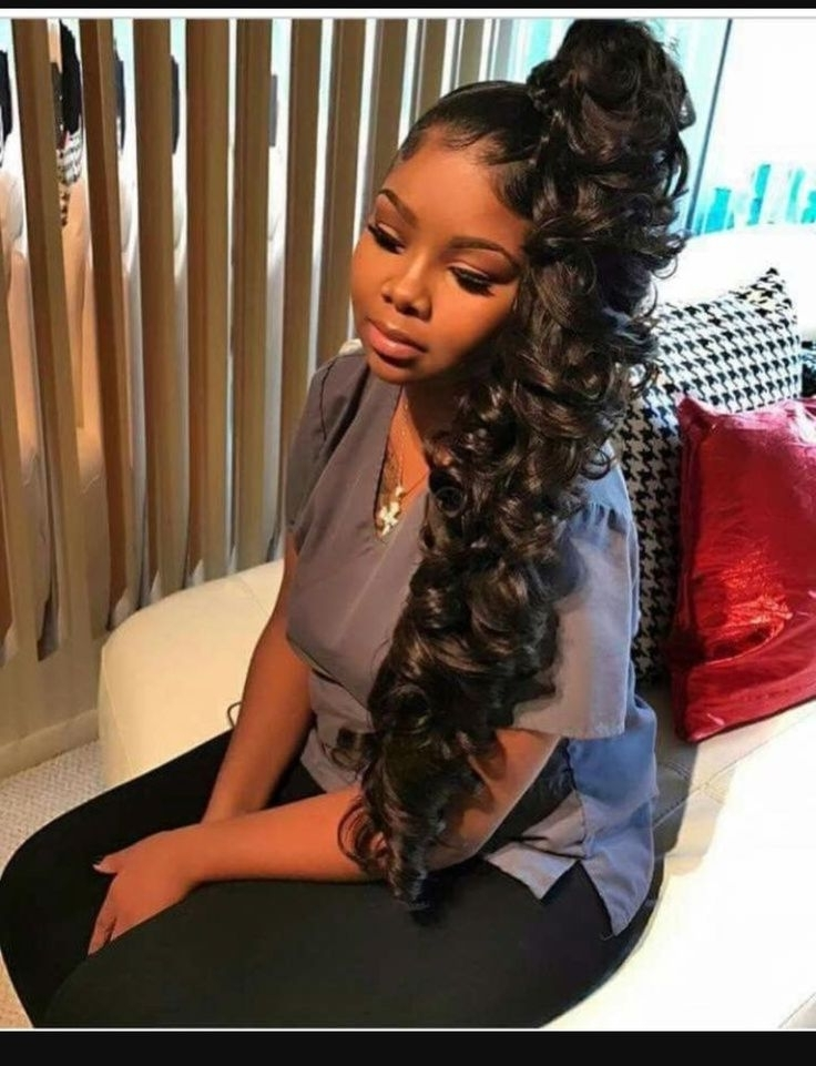Beautiful High Side Ponytail Curly Design | Design | Pinterest In High Curly Black Ponytail Hairstyles (View 21 of 25)
