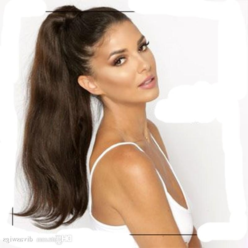 Beauty Long Human Hair Ponytail Extensions 160G Sleek Natural For Sleek Straightened Black Ponytail Hairstyles (View 21 of 25)