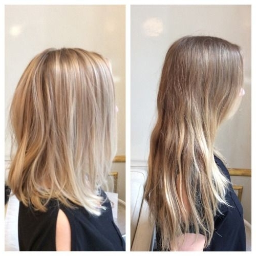 Before & After For This Blondie #balayage #hairpainting #blonde #lob Within Volumized Caramel Blonde Lob Hairstyles (View 20 of 25)