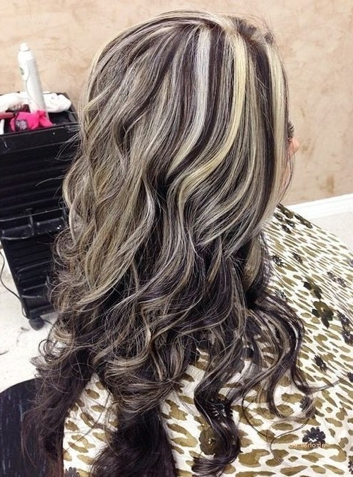 Best Of Hairstyles With Blonde Highlights On Dark Brown Hair In Dark Brown Hair Hairstyles With Silver Blonde Highlights (View 17 of 25)