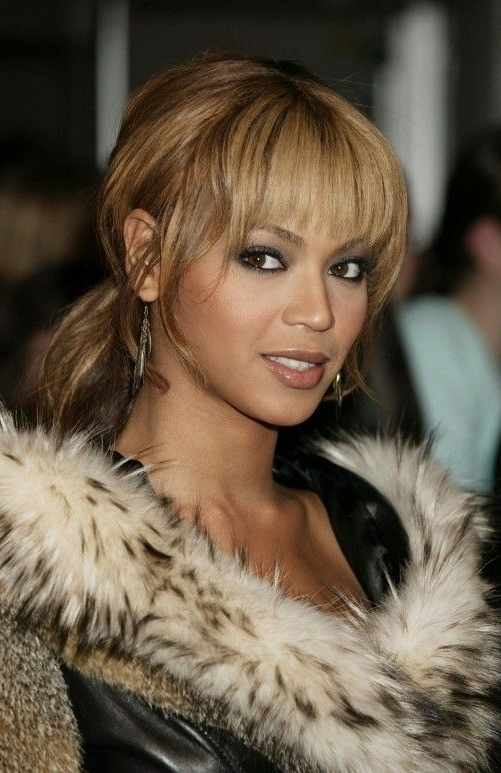 Beyonce Knowles Loose Ponytail With Wispy Bangs | Hair & Nails Regarding Minaj Pony Hairstyles With Arched Bangs (View 7 of 25)