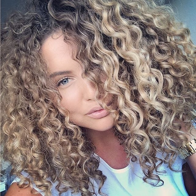 Big Beautiful Blonde Curls ? #blondecurls #highlights | Hair Styles In Medium Blonde Bob With Spiral Curls (View 16 of 25)